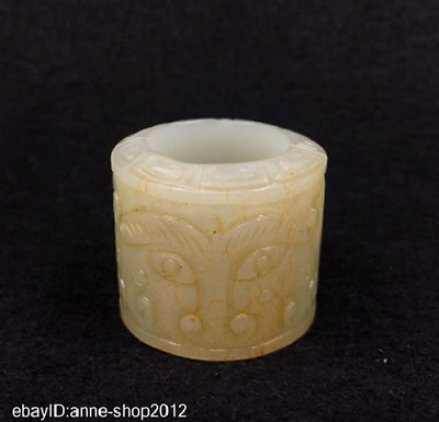 3.4CM Chinese natural HeTian white Jade Hand-carved beast Face Finger Ring AWLT