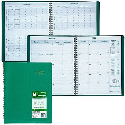 """2019 Brownline EcoLogix CB435W.GRN Monthly Planner, 8-1/2 x 11"""", 100% Recycled"""