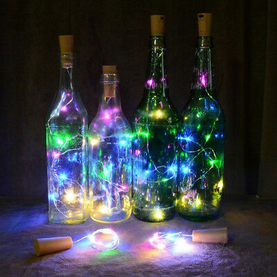 15/20 Led Wine Bottle Cork Lights Silver Wire Wedding Xmas Party Decor Funny