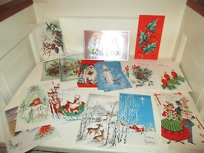 Vintage Christmas Greeting Cards LOT OF 30 USA  Glitter & Other