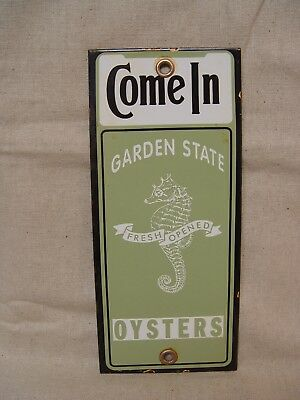 Garden State Oysters Porcelain Come In Door Push Advertising Sign