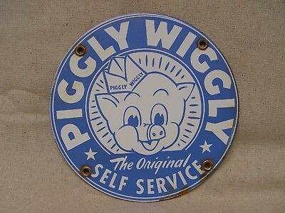 "Piggly Wiggly Original Self Service Grocery Store 5"" Porcelain Advertising Sign"
