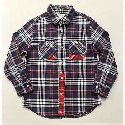 J.crew Crew Cuts Boys 6/7 Midweight Patched Flannel Shirt In Blue Plaid 23854