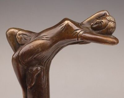 Old Cane Walking Stick Head Bronze Casting Woman Statue old Personal Tailor