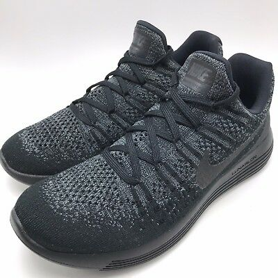da91638dd16a Nike Lunarepic Low Flyknit 2 Men Running Shoes Black Black-Dark Grey 863779-