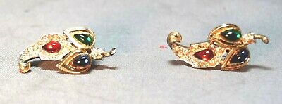 Alfred Philippe Crown Trifari Sterling Jewels of India Screw Back Earrings! RARE