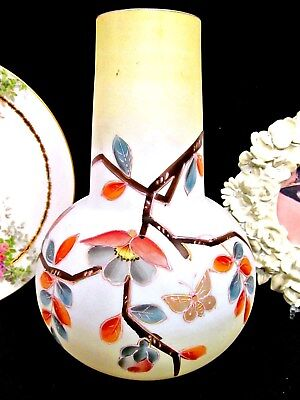 victorian hand blown glass vase with painted blossoms and butterfly Bristol