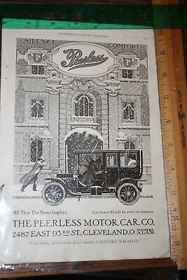 OLD MAGAZINE AD advertising print 1909 peerless car + marion flyer  2 sided