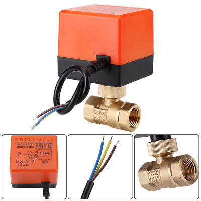 DN15/DN25 AC 220V Brass Electric Ball Valve 2 Way 3-Wire Valve for Water Gas Oil
