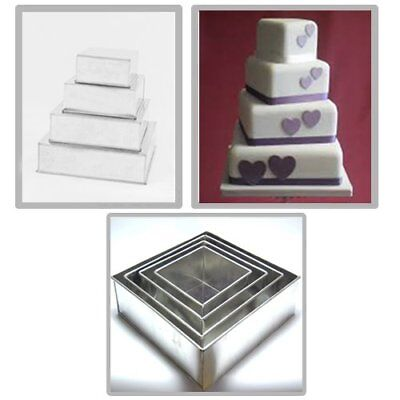 5 Tier Square Multilayer Birthday Wedding Anniversary Cake Tins By Euro Tins