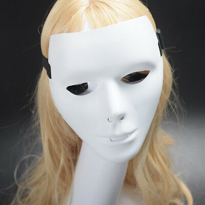 Unisex Full Face Plastic White Mask Masquerade Hip-Hop Party Dance Costume CHL