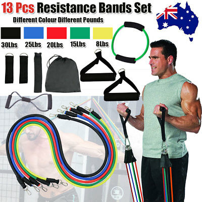 13Pcs Latex Yoga Strap Resistance Bands Exercise Home Gym Tube Workout Fitness