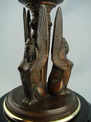 QUALITY VICTORIAN CAST OIL LAMP BASE, 19thC EGYPTIAN REVIVAL, WINGED SPHINX