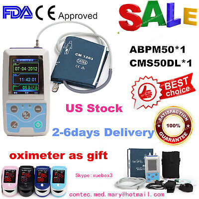 Ambulatory Blood Pressure Monitor System 24 Hours ABPM50+ free Oximeter FDA,USA