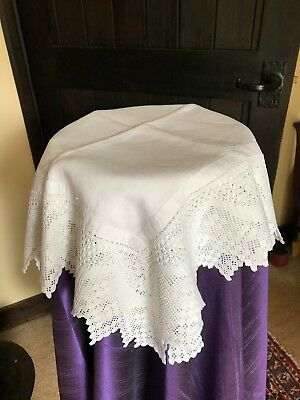 Vintage table linen -  white  tablecloth with hand crocheted border 120 cm sq