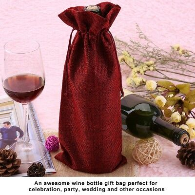 12pc Simple Linen Fabric Wine Bag with Drawstring Champagne Decorative Cover