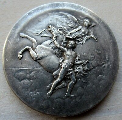 Antique French Art Nouveau Deco Silver Plated Bronze Medal old vintage horse