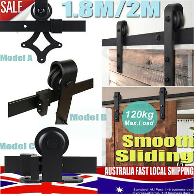 1.83/2m Sliding Barn Door Hardware Kit Roller Slide Track Set Interior Closet