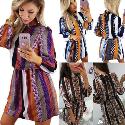Fashion Women's Long Sleeve Dress High Neck Autumn Evening Party Mini Dresses