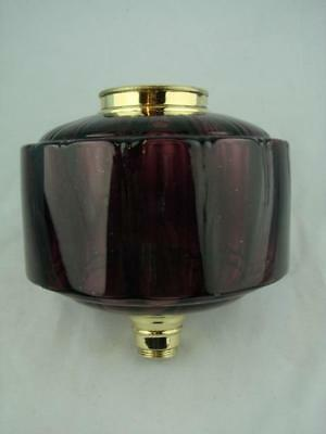 Victorian Amethyst Moulded Glass Oil Lamp Font Brass Screw Fit Collar & Mount