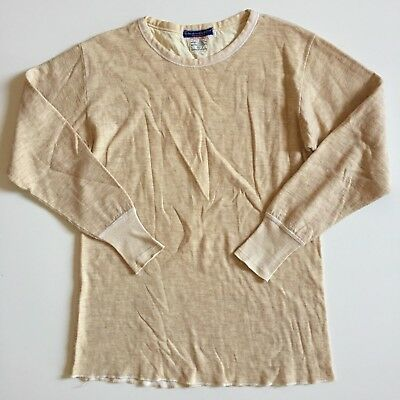 vtg Duofold mens 42 M Cream crewneck thermal long sleeve t-shirt cashmere & wool