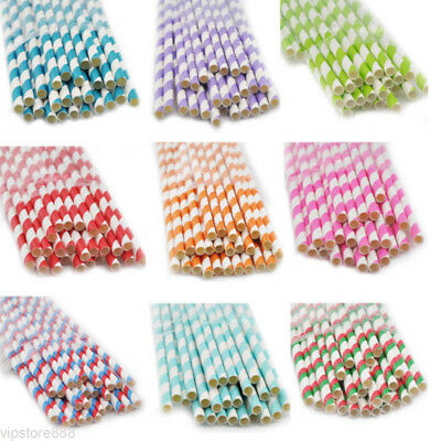 25pcs Colors Striped Paper Drinking Straws-Rainbow Mixed For Party Decorations