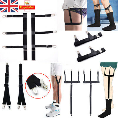 UK Shirt Stays Garter Sock Elastic Holder Strap Non-Slip Suspender Locking Clamp