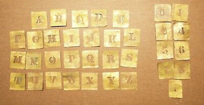 Lot of 35 vintage Brass Stencil Letters & Numbers ~ full alphabet & more ~ decor