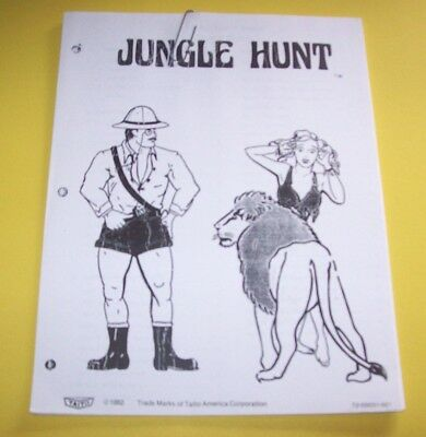 Taito JUNGLE HUNT Video Arcade Game INSTRUCTIONS & PARTS SERVICE MANUAL