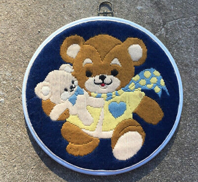 """TEDDY BEAR TROUBLE """"Navy Blue"""" Large Completed Long Stitch in Embroidery Hoop"""