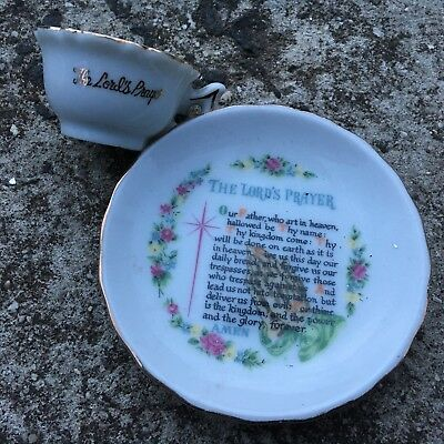 "THE LORD'S PRAYER ""White"" Beautiful Mini Ornamental Cup & Saucer Plate"