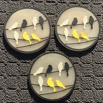 "3pk CITY BIRDS ""Black & Yellow"" Decorative Round Silicone Drink Coasters"