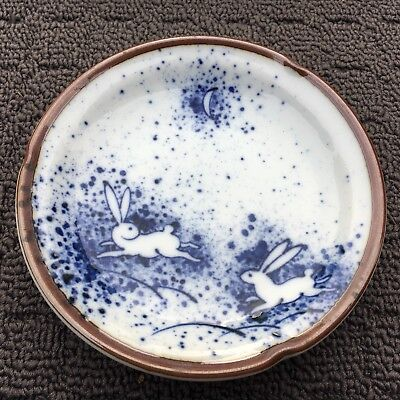 "JAPANESE RABBITS ""Blue & White"" Gorgeous Decorative Dish Bunny Ornament"