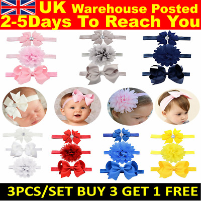 3pcs/Set Baby Girl Headband Ribbon Elastic Headdress Kids Newborn Hair Band Bow