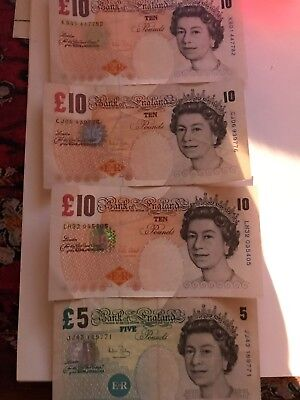 ENGLAND 10&5 POUNDS 2000 -2002 lot4 bills total 35 pounds exchange 35.00=$50.00