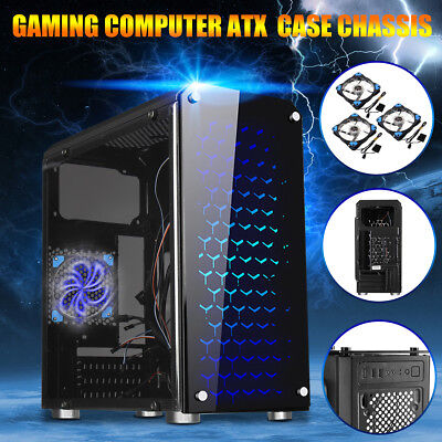 US M-ATX/ITX Tower Computer Gaming PC Case Cover Black 3 Fan Mounts USB 3.0
