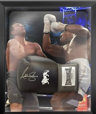 Anthony Joshua  Signed Black Lonsdale  Boxing Gloves In A Dome Framed + Proof