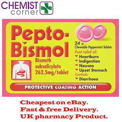 Pepto Bismol 24 Chewable Peppermint 262.5mg/Tablets -Special Offer