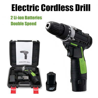 12V Electric Cordless Drill Screwdriver Twin Li-ion Lithium Battery LED Light