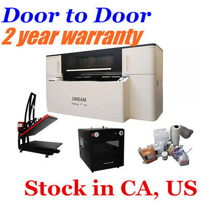 US DTG Printing Package Printer Pretreat Machine Heat Press Machine Ink Supplies