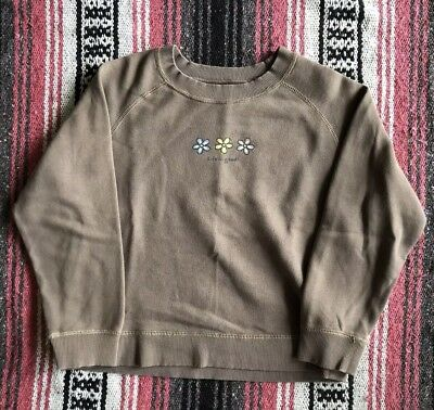 Life Is Good Brown Flower Crewneck Sweater Girls Size Large