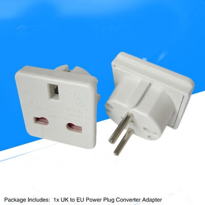 EU 2-Pin European Euro Europe To UK Plug 3-Pin Socket Converter Adapter White
