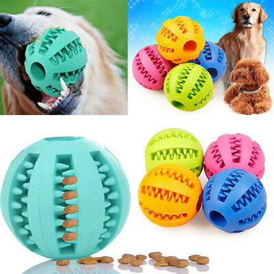 Pet Dog Puppy Cat Training Dental Toy Rubber Ball Chew Treat Dispensing Holder A
