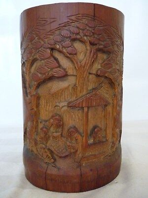Vintage/Antique Chinese Bamboo Carved Brush Pot/Wash.