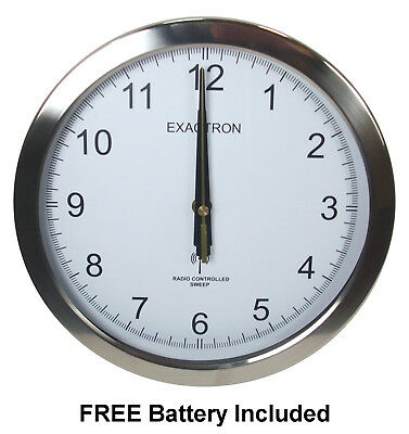 """10"""" Silver Round Wall Clock Radio Controlled Sweeping Hand Home Office Silent"""