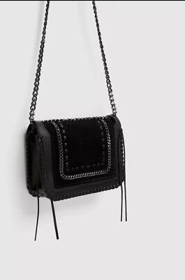 0cdf5cf1 ZARA BLACK LEATHER Crossbody Bag With Chain Strap