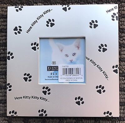 "BURNES paw print CAT LOVER Photo Frame  BOSTON ""HERE KITTY"" table Metal 3x3 NEW"