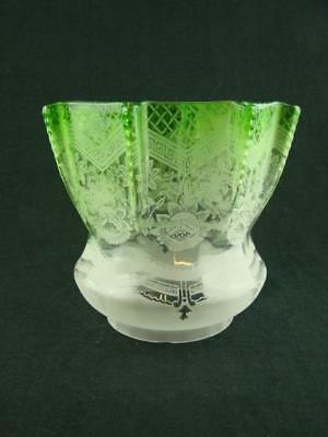 """Antique Veritas Graduated Green Glass Etched Tulip Oil Lamp Shade 4"""" Fitter"""