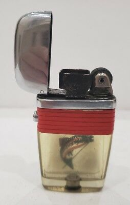Vintage Working Scripto VU Lighter Large Fish with Red Band