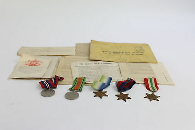 Lot of 5 x Vintage WW2 Navy Medals FULL SIZE With Ribbons Inc. Paperwork